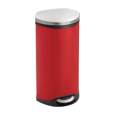 "Safco® Stainless Steel Step-On Medical Waste Receptacle, 7.5 Gallons, 26 1/2"" x 15"" x 13 1/2"", Red"