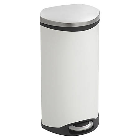 """Safco® Hands-Free Step-On Trash Receptacle, 7.5 Gallons, 15"""" x 13 1/2"""" x 26 1/2"""", White"""