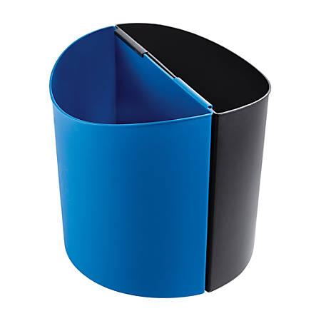 "Safco® Deskside Recycling Receptacles, 14 Gallons, 13 1/2""H x 13""W x 8""D, Black/Blue"