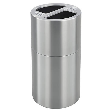 """Safco® Round Aluminum Dual Recycling Receptacle, 30 Gallons, 17 1/2"""" x 32 1/2"""", Stainless Steel"""