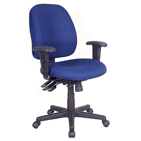 "Raynor® 4 x 4 Fabric Task Chair, 37""H x 29 1/2""W x 26""D, Black Frame, Navy Fabric"