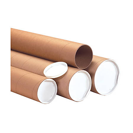 """B O X Packaging Kraft Heavy-Duty Mailing Tubes With Caps, 8"""" x 36"""", Case Of 10"""
