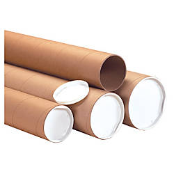 B o x packaging kraft heavy duty mailing tubes with caps 8 for Kraft paper craft tubes