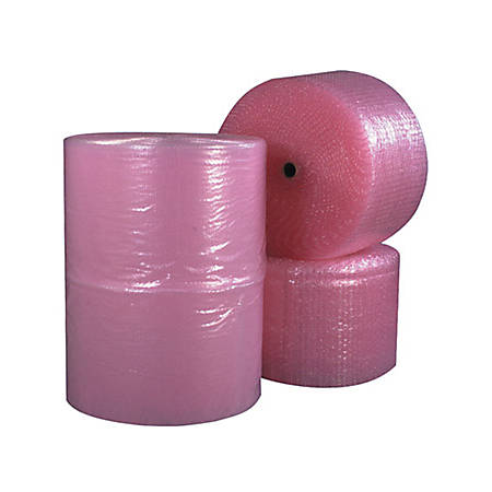 "B O X Packaging Anti-Static Air Bubble Rolls, 1/2"" x 24"" x 250', Pink, Pack Of 2"
