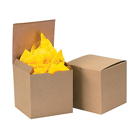 Box Packaging Kraft Gift Boxes 6 X 6 X 4 Case Of 100 Item 1419697