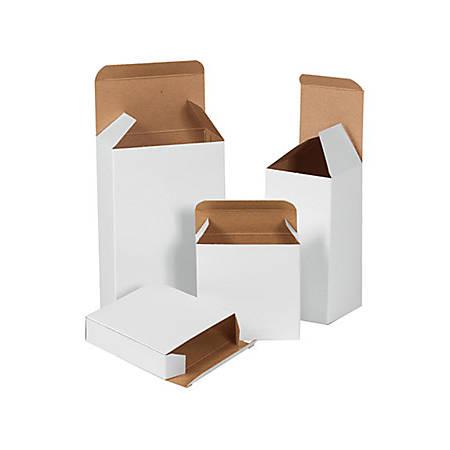 "B O X Packaging Reverse Tuck Folding Cartons, 6 3/8"" x 1 1/2"" x 6 3/8"", White, Pack Of 250"