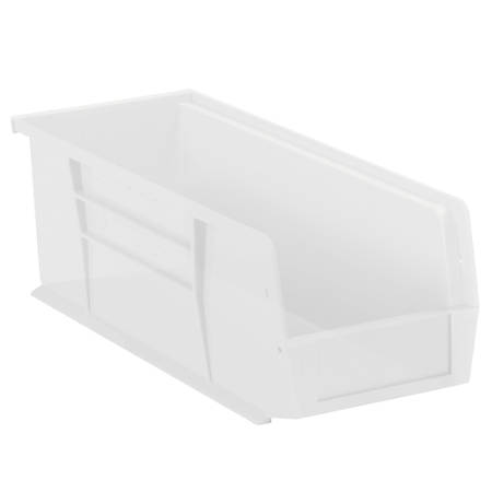 """Office Depot® Brand Plastic Stack And Hang Bin Boxes, 10 7/8"""" x 4 1/8"""" x 4"""", Clear, Pack Of 12"""