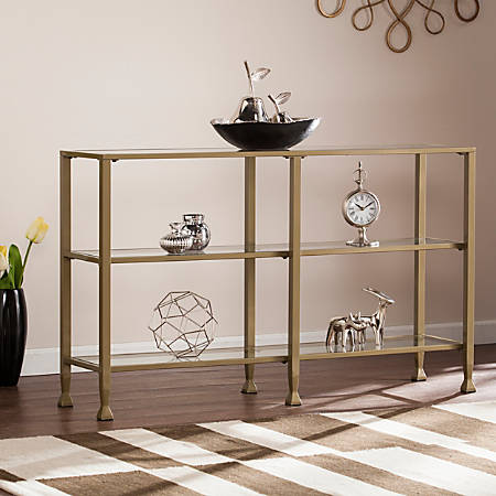 Southern Enterprises Jaymes Metal/Glass 3-Tier Console Table/Media Stand, Rectangular, Clear/Gold