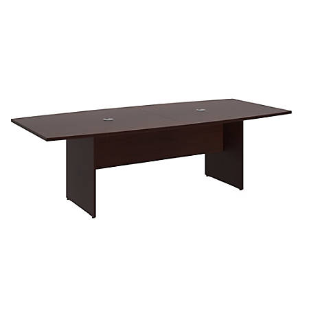"Bush Business Furniture 96""W x 42""D Boat Shaped Conference Table with Wood Base, Harvest Cherry, Premium Installation"