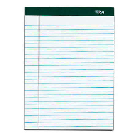 """TOPS™ Double Docket™ Writing Pads, 8 1/2"""" x 11"""", Narrow Ruled, 100 Sheets, White, Pack Of 4 Pads"""