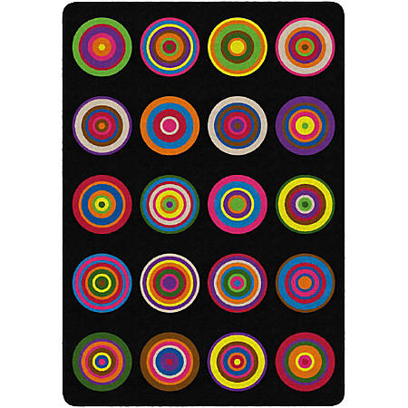 "Flagship Carpets Color Rings Rug, Rectangle, 6' x 8' 4"", Black"