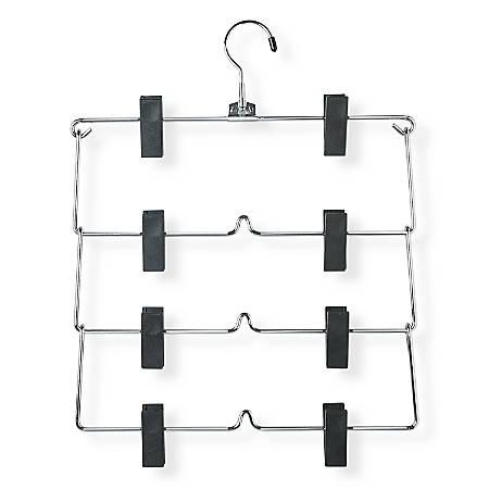 Honey-Can-Do 4-Tier Skirt/Pant Hangers, Chrome/Black, Pack Of 2