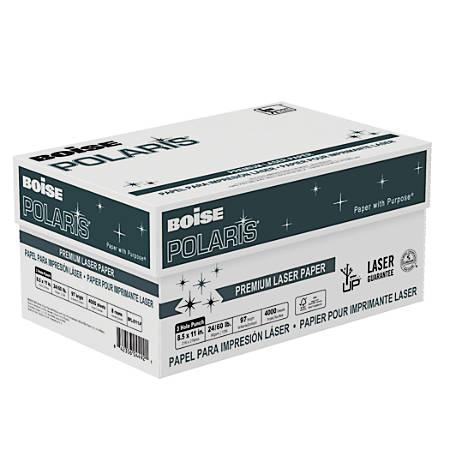 "Boise POLARIS® Premium Laser Paper, 3-Hole Punched, Letter Size (8 1/2"" x 11""), 98 (U.S.) Brightness, 24 Lb, FSC® Certified, 500 Sheets Per Ream, Case Of 8 Reams"