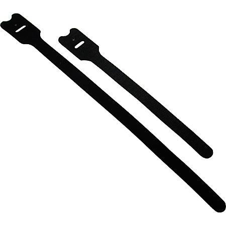 C2G 8in Screw-mountable Hook-and-Loop Cable Ties - 10pk - Black - 10 Pack