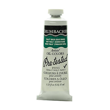 Grumbacher P205 Pre-Tested Artists' Oil Colors, 1.25 Oz, Thalo Green (Blue Shade), Pack Of 2