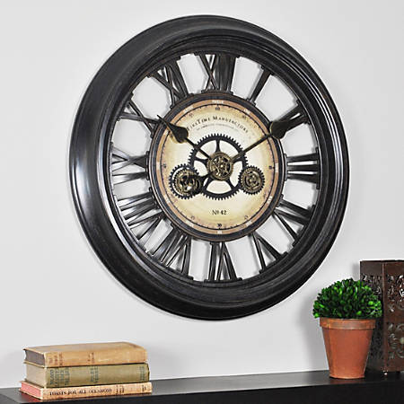 "FirsTime® Gear Works Round Wall Clock, 24"", Metallic Black/Brown"