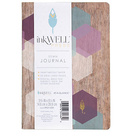 "inkWELL Press® AT-A-GLANCE® Sewn Journal, 5 3/4"" x 8 1/4"", Grid-Lined, 52 Pages (26 Sheets), Multicolor"