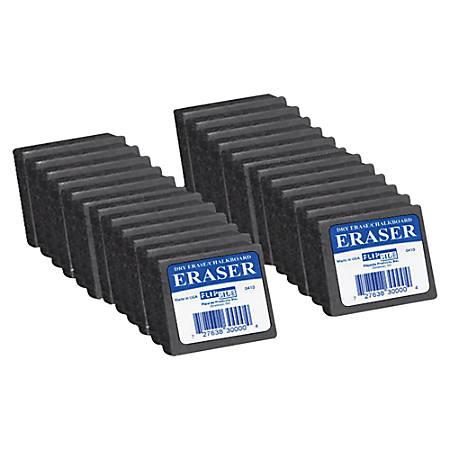 "Flipside Dry Erase/Chalkboard Felt Eraser, 1""H x 2""W x 2""D, Gray, Pack Of 24"