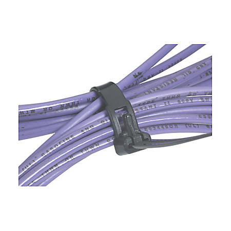 """Box Packaging Releasable Cable Ties, 5 1/2"""", Black, Pack Of 1,000"""