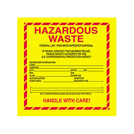 "Tape Logic® Hazardous Waste Shipping Labels, DL7530, 6"" x 6"", Roll Of 500"