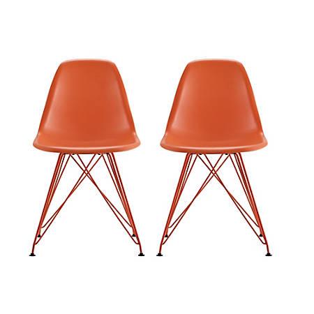 DHP Mid-Century Modern Molded Chairs, Orange/Orange, Set Of 2