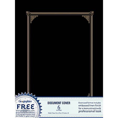 """Geographics® 30% Recycled Document Covers, 9 3/4"""" x 12 1/2"""", Black, Pack Of 6"""