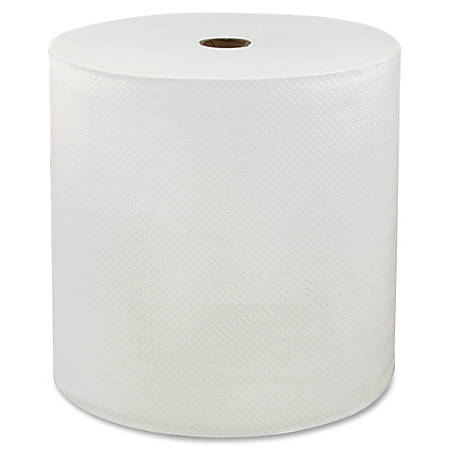 "Genuine Joe Solutions 1-ply Hardwound Towels - 1 Ply - 7"" x 600 ft - White - Virgin Fiber - Embossed, Absorbent, Soft, Chlorine-free - 6 / Carton"