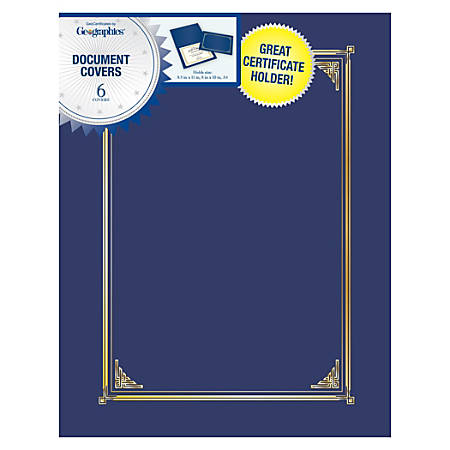 "Geographics® 30% Recycled Document Covers, 9 3/4"" x 12 1/2"", Navy Blue, Pack Of 6"