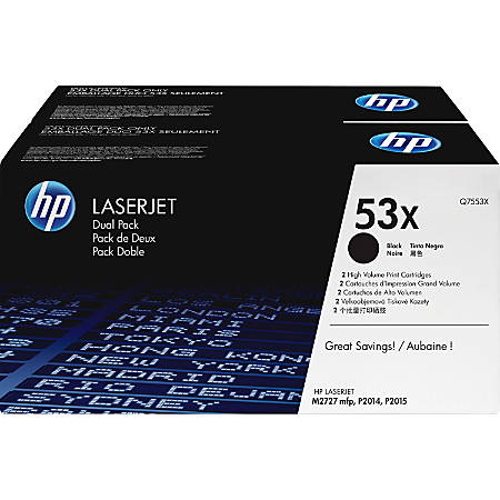 HP 53X, Black Original Toner Cartridges (Q7553XD), Pack Of 2