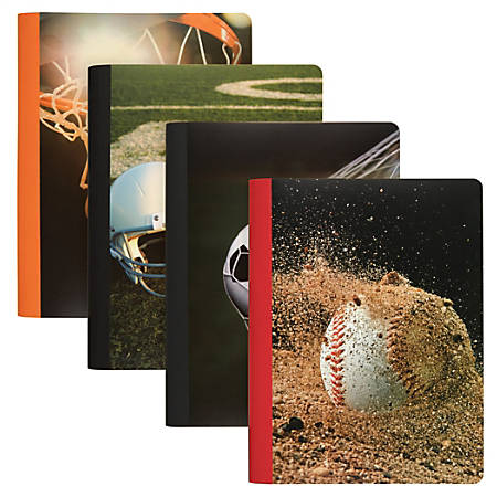 """Office Depot® Brand Fashion Composition Notebook, 9 3/4"""" x 7 1/2"""", College Ruled, 160 Pages (80 Sheets), Assorted Sports Designs"""