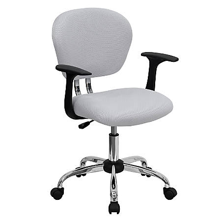 Flash Furniture Mesh Mid-Back Swivel Task Chair With Arms, White/Silver