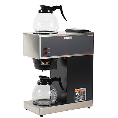 Bunn® VPR 12-Cup Commercial Pourover Coffee Brewer With 2 Glass Decanters, Black/Stainless Steel