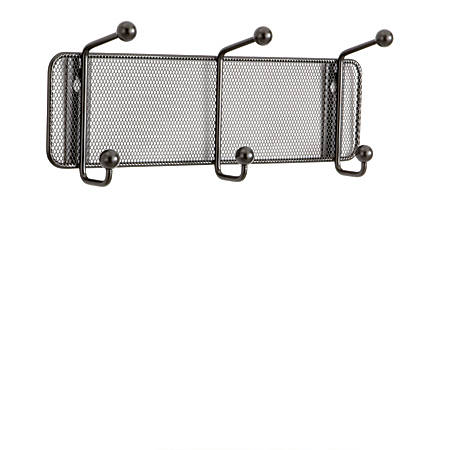 Safco® Onyx Mesh Wall Rack, 3 Double Hooks, Black