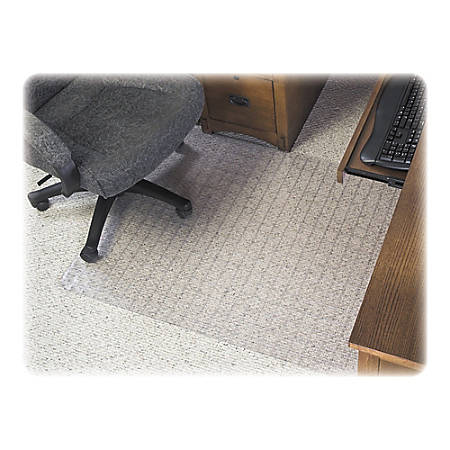 "Deflect-O SuperMat Checkered Chair Mat For Carpet, 60"" x 46"", Clear"