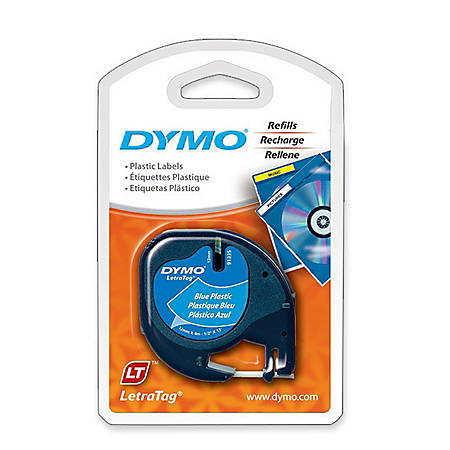 """DYMO® LetraTag 91335 Black-On-Blue Labeling Tape, 0.5"""" x 13'"""