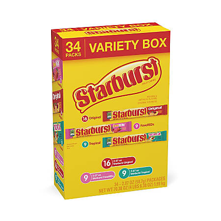 Starburst Variety Box, Pack Of 34 Pouches