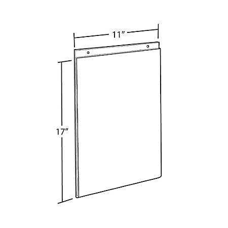 """Azar Displays Wall-Mount U-Frame Acrylic Sign Holders, 17"""" x 11"""", Clear, Pack Of 10"""