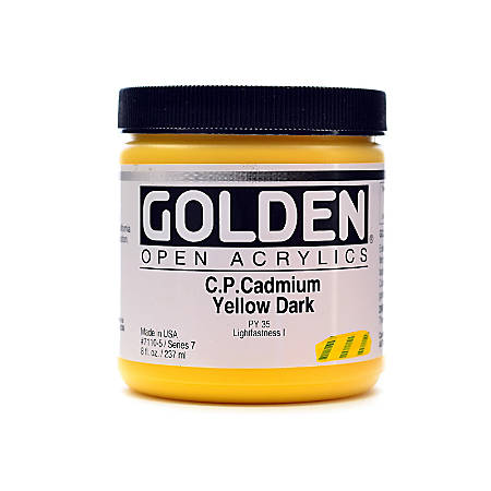 Golden OPEN Acrylic Paint, 8 Oz Jar, Cadmium Yellow Dark (CP)