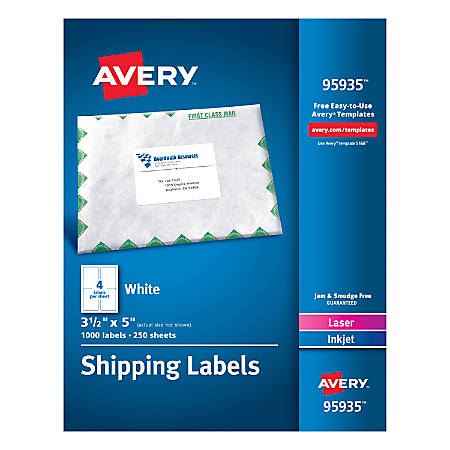 """Avery® Bulk Shipping Labels, 95935, 3 1/2"""" x 5"""", FSC Certified, White, Pack Of 1,000"""