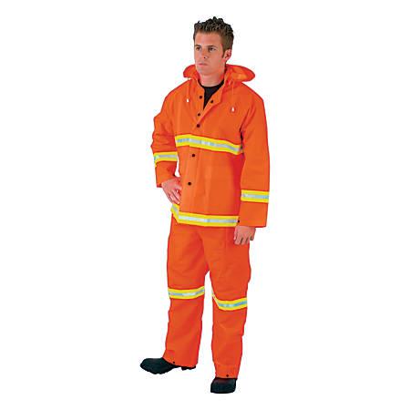 Three-Piece Rain Suit, Jacket/Hood/Overalls, 35 mm PVC/Poly, Orange, X-Large