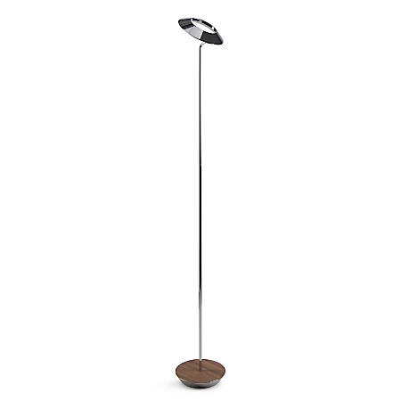 "Koncept Royyo LED Floor Lamp, 45-1/2""H, Chrome Body/Oiled Walnut Base Plate"