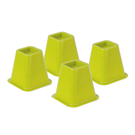 "Honey-Can-Do Plastic Bed Risers, 6""H x 6 1/2""W x 6 1/2""D, Green, Pack Of 4"