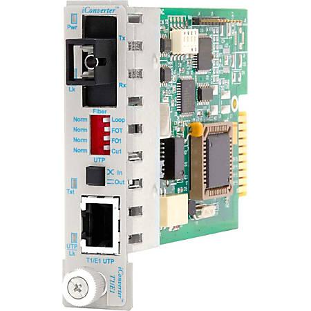 iConverter T1/E1 Single-Fiber Media Converter RJ48 SC Single-mode 40km BiDi Module Wide Temp - 1 x T1/E1; 1 x SC Single-mode Single-Fiber (1550/1310); Internal Module; Lifetime Warranty