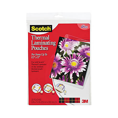 """Scotch® Thermal Laminating Pouches, 8 1/2"""" x 11"""", Clear, Pack Of 20"""