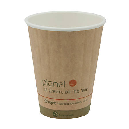 StalkMarket® Planet+ Compostable Hot Cups, Double-Wall, 8 Oz, Brown, Pack Of 1,000 Cups