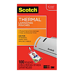 Scotch Thermal Laminating Pouches ID BadgeTag