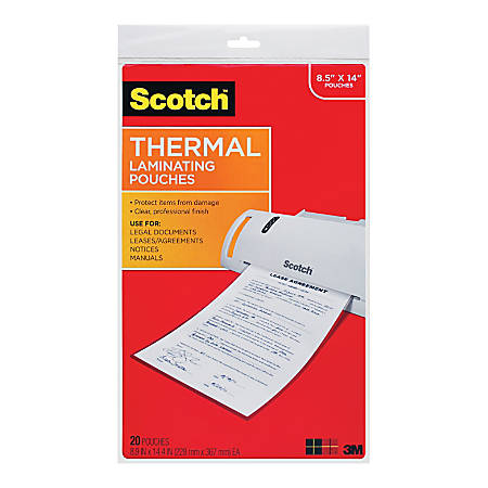 """Scotch® Thermal Laminating Pouches, 8 1/2"""" x 14"""", Pack Of 20"""