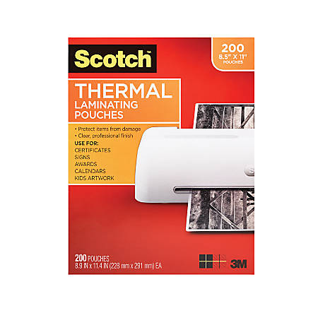 """Scotch® Thermal Laminating Pouches, 8-1/2"""" x 11"""", Clear, Pack Of 200 Pouches"""
