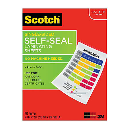 """Scotch® Self-Seal Laminating Sheets, 8 1/2"""" x 11"""", Clear, Pack Of 50"""