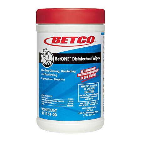 Betco® BetONE Disinfectant Wipes, 22 Oz, 100 Wipes Per Canister, Case Of 12 Canisters